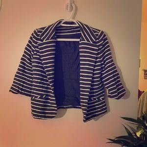 Grey and White Striped Blazer